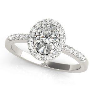 Gina Oval Halo Basket Cathedral Engagement Ring  (Platinum)