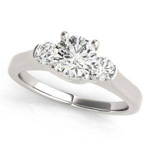 Silvia Diamond 3-Stone Ribbon Prong Engagement Ring (Platinum)
