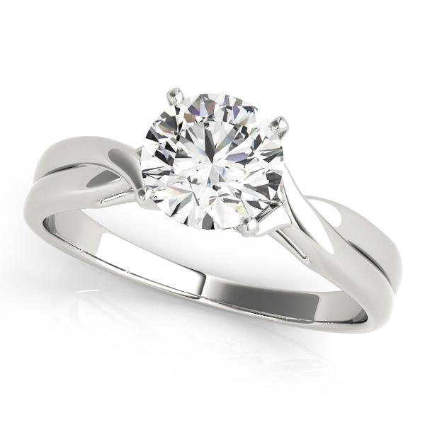 Estella  Diamond Solitaire Cathedral Twist Engagement Ring (Platinum)