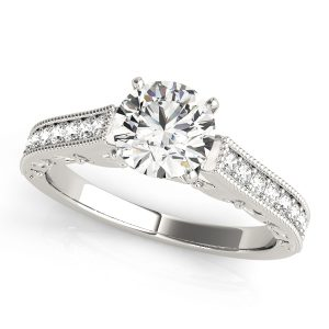 Genevieve Diamond Cathedral Engraved Milgrain Engagement Ring (Platinum)