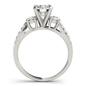 Katherine Diamond 3-Stone Fancy Split Shoulder Engagement Ring (Platinum)