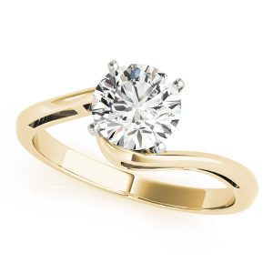 Alexis Waterfall Swirl Bypass Diamond Solitaire Engagement Ring (18k Yellow Gold)