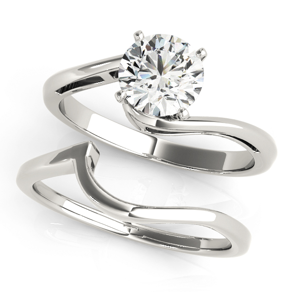 Alexis Waterfall Swirl Bypass Diamond Solitaire Engagement Ring (Platinum)