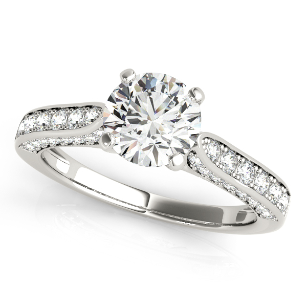 Leah Diamond Luxe Scalloped Cathedral Engagement Ring (Platinum)
