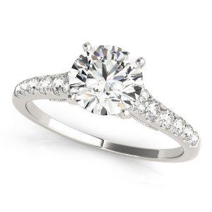 Clara Diamond Cathedral Milgrain Vintage Engagement Ring   (Platinum)
