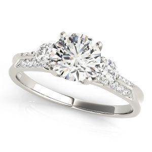Jacqueline Diamond 3-Stone Tulip Engagement Ring  (Platinum)