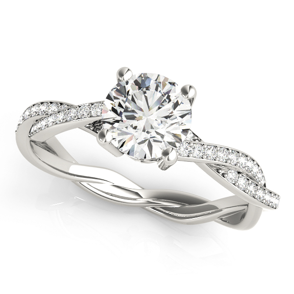 Fiona Ultra-Luxe Diamond Solitaire Pave Braided Engagement Ring (Platinum)