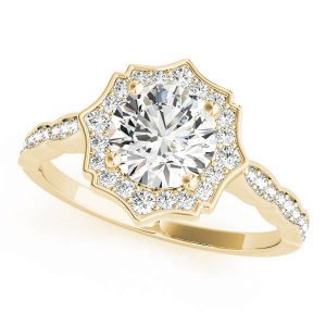 Angelica Art Deco Style Diamond Engagement Ring  (18k Yellow Gold)
