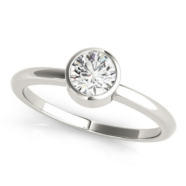 Contemporary Ariana Diamond Solitaire Bezel Engagement Ring (Platinum)